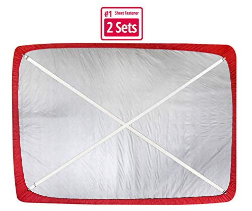 Hold'Em Bed SheetFastenerSuspenders -Heavy DutyUSA Made,Adjustable,Straight or Crisscross Keep Sheet SNUG Without Slipping SheetStrapHolder Clips-2 pc. Adjustable White 2 Set