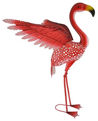 Green Jem Solar Flamingo mit Kopf nach vorn, Metall Garten Dekoration, Mehrfarbig, 56x 47x 86cm