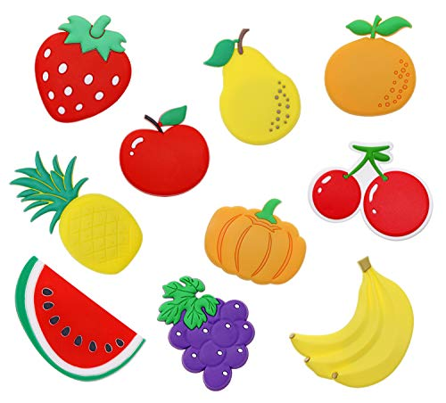 PENTA ANGEL Rubber Fruit Fridge Magnets 10pcs Large Cute Cartoon Refrigerator Magnets Whiteboard Stickers Kids Funky Learning Game Toys for Home Kitchen Decoration Girls Boys Educational Gift(Fruit)