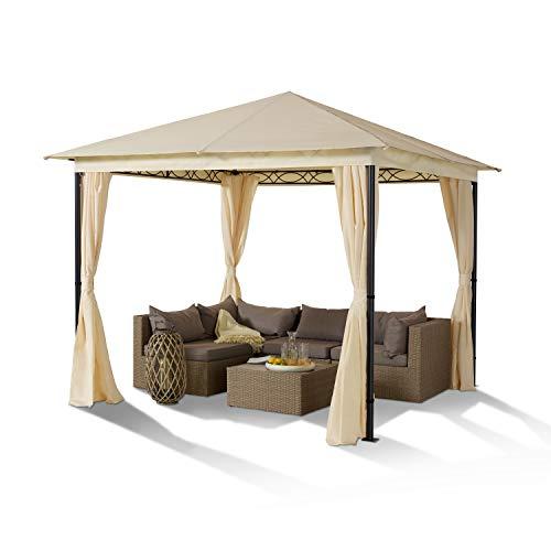 TOOLPORT Gartenpavillon 3x3 m Stahl Vintage 180 g/m² Dachplane Volant wasserdicht Pavillon Gartenzelt 4 Seitenteile Champagner