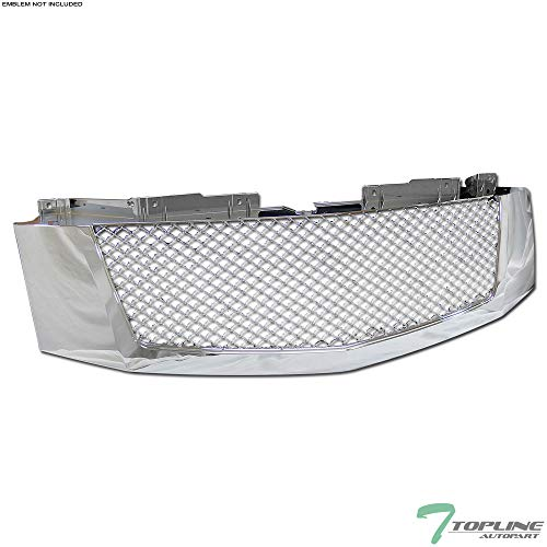 Topline Autopart Chrome Mesh Front Hood Bumper Grill Grille ABS For 07-14 Cadillac Escalade/EXT
