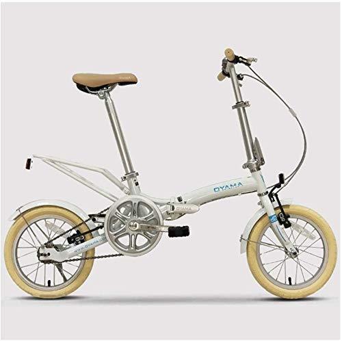 Aoyo Mini Folding Bikes, 14 Zoll Erwachsener Frauen Single Speed faltbares Fahrrad, leichtes, tragbares Super Compact Urban Commuter Fahrrad, (Color : White)