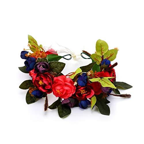 Unicra Diadema de corona con flores para el pelo, guirnalda de flores, accesorios para el cabello con cinta, fiesta de boda, regalo para mujeres y niñas (rojo)