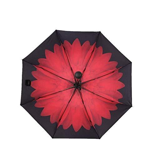 YNHNI Paraguas Plegables Manual a Prueba de Lluvia Triple Plegable de 8 Huesos de Refuerzo de 8 Huesos y Sol Paraguas de sombrilla,Portátil (Color : Oxblood Red)