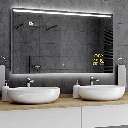 Alasta® Badkamerspiegel met Verlichting - 80x120 cm - Model Guiza - Spiegel met Aanraaklichtschakelaar en Weerstation P1