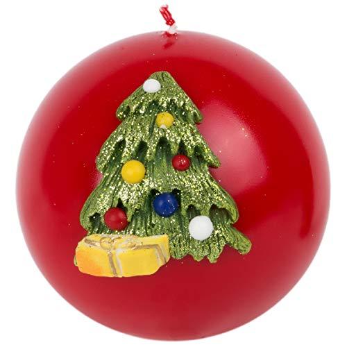 holzalbum rote Weihnachtskerze Kugelkerze Motiv 3D Weihnachtsbaum Ø 10 cm Adventskerze