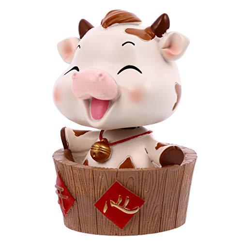 ABOOFAN Kuh Figur Auto Wackelfigur Feng Shui Statue Tortenfigur Dekofigur Wohnzimmer Tischdeko Skulptur für Silvester Glücksbringer Ochse Neujahr Geschenke Weihnachten Deko