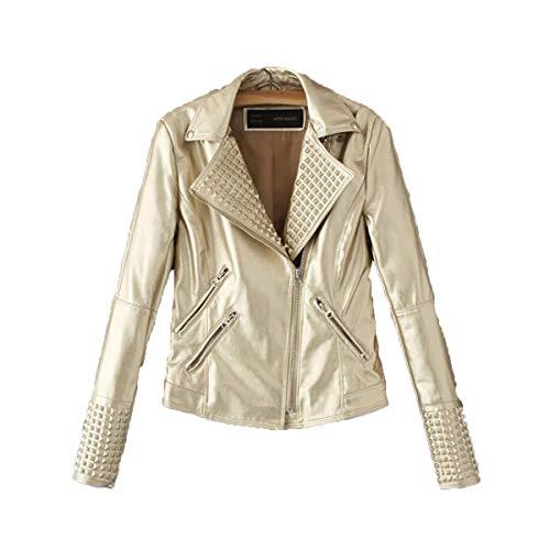 JIER Damen Nieten Bikerjacke Frauen Lederjacke Winter Jacket Übergangsjacke Jackets Oblique Zip Punk Kunstleder Moto Jacke Mantel Outwear (Gold,Small)