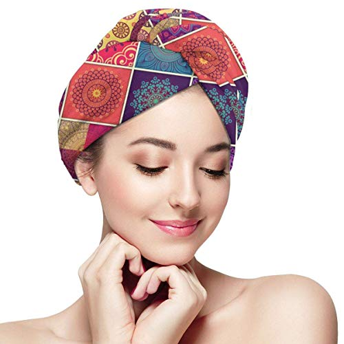 Agoyls Bonnet de Bain/Bonnet de natatio,Women's Hair Drying Towel Wrap Turban with Button Mandala Awesome Design Soft Absorbent Microfiber Wrapped Bat