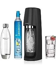 Sodastream Pack SPIRITNFUSE - Machine à Eau Pétillante + 2 Bouteilles, Plastique PET , Noire, 19,5 x 19,5 x 43,5 cm [Classe Énergétique A+++]