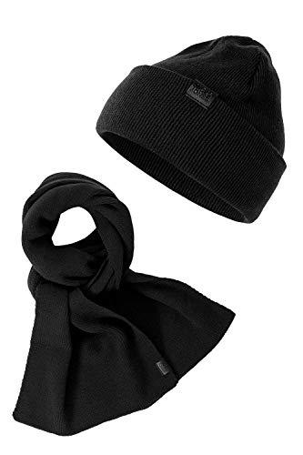 JACK & JONES Herren Beanie und Schal Geschenkset Strick Accessoires Mütze (One Size, Black)