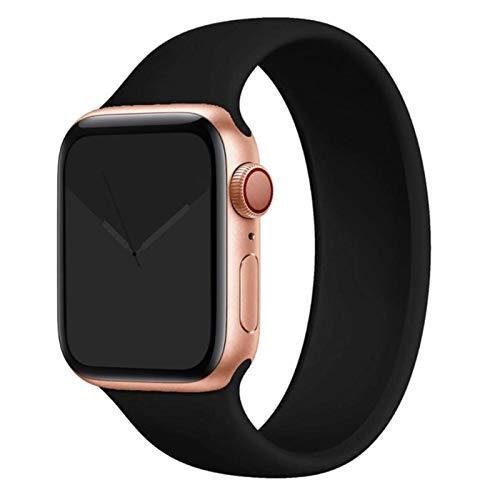 Correa para Apple Watch 5 Band para iWatch serie 4/5/6 / SE Correa elástica Pulsera de silicona Solo Loop para Apple watch band-Negro, 38mm o 40mm
