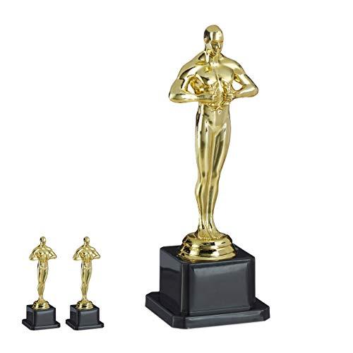 Relaxdays 3 x Siegerfigur, quadratischer Sockel, Figur mit Kranz, Siegertrophäe, Hollywood, Geschenkidee, 18 cm groß, Gold
