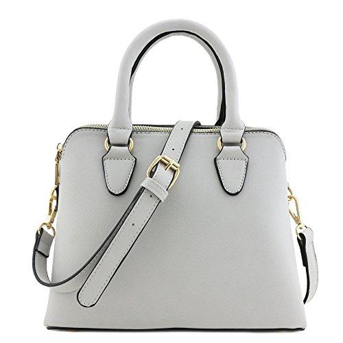 Classic Double Zip Top Handle Satchel Bag Light Grey