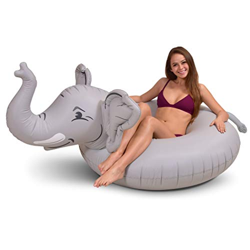 GoFloats Trunks The Elephant Party Tube Inflatable Raft | Fun Pool Float for Adults and Kids, Gray