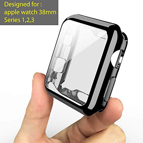OJOS Case Compatible with Apple Watch 38mm Screen Protector Soft TPU All-Around Black Cover iWatch Case for Apple Watch Series 2, 3 (Black, 38mm)
