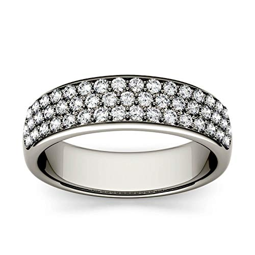 Charles & Colvard Forever One anillo de aniversario de boda - Oro blanco 14K - Moissanita de 1.4 mm de talla redonda, 0.64 ct. DEW, talla 14,5
