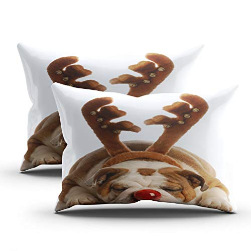 Geeole Christmas Antlers Set of 2 Pillow Cases, Rudolph The Red Nosed Bulldog Christmas Dog Reindeer Funny Throw Cushion Covers, Hidden Zipper Elegant Pillowcases for Living Sofa Bed 20x26 Inch