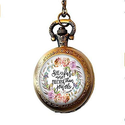 Collar de reloj de bolsillo con versículo de la Biblia, SHE es mucho más preciosa que las joyas Proverbs 31