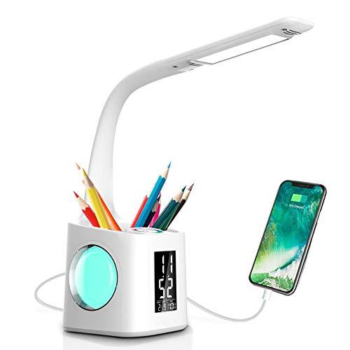 Lámpara de Escritorio LED con Portalápices, 10W Lámpara de Mesa Regulable Pantalla LCD y Carga USB, Luz de Escritorio con 3 Niveles de Brillo y 256 Colores de Luz de Noche para Estudiar y Dormir