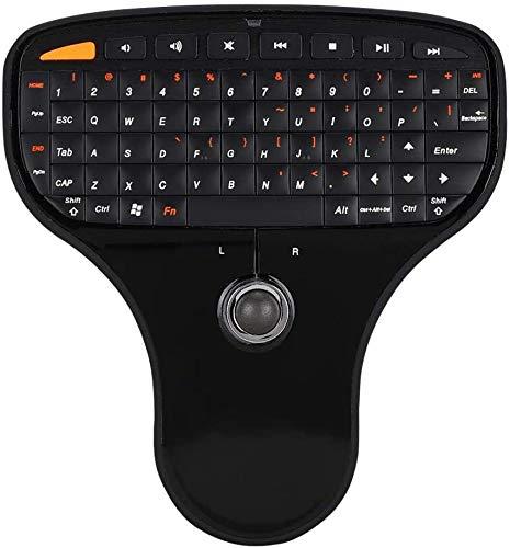 Trackball con tastiera 2.4G, mini tastiera wireless, tastiera multimediale, design ultraleggero, tastiera e mouse tascabili 2-in-1, tastiera multimediale USB per computer TV