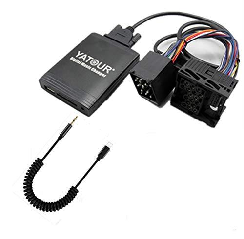 BMW iPhone adaptateur auxiliaire stéréo, Digital Interface d'entrée audio de voiture avec carte SD, iPod MP3 USB, 3.5 mm Aux in, Lighnting lecteur de musique pour BMW 91-05, Land Rover 99-05
