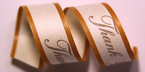 100% Biodegradable Natural Ribbon | Prints & Stripes | Ribbon for Crafts | Cotton Curling Ribbon | Holiday Ribbon | Wrapping Ribbon | Eco-Friendly Ribbon (Thank You - Kraft, 5/8' x 100 Yards)