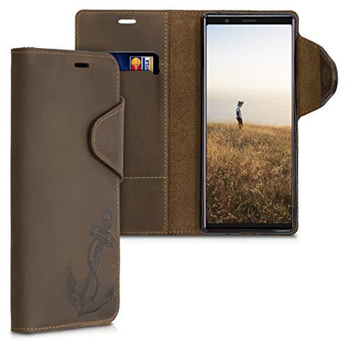 kalibri Wallet Hülle kompatibel mit Sony Xperia 5 - Hülle Leder - Handy Cover Handyhülle Anker Vintage Braun