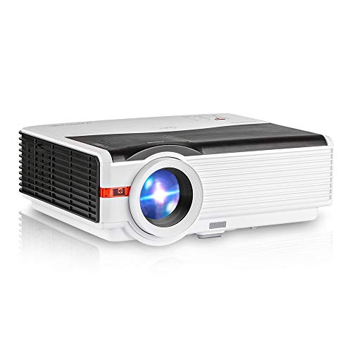 "Video Projector WiFi Wireless 4200 Luminous LED LCD Dispaly Max 200"", HD Smart Projectors WXGA Home Theater Support 1080p HDMI USB VGA AV iOS Android Miracast Airplay Built-in 10W Speaker"