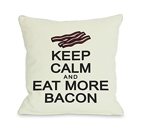One Bella Casa Keep Calm and Eat More Bacon Throw Pillow by OBC, 14'x 20', Ivory/Black