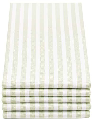 ZOLLNER 5er Set Geschirrtücher gestreift, 50x70 cm, lindgrün weiß gestreift