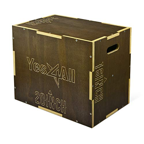 Yes4All Wooden Plyo Box - Vintage - Moss Brown - 24 x 20 x 16