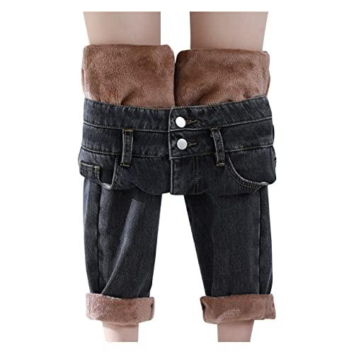 Hosen Damen-Jeans High-Waist-Straight Winter-Gefüttert-Fleece-Thermo Jeanshose: Winterhose Damen Thermo Fleecehose Warm Leicht Outdoor Sporthose
