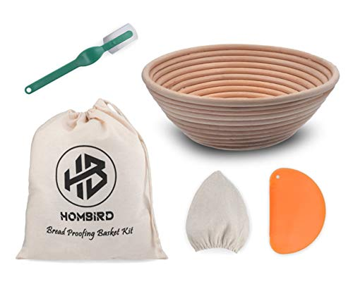 SOURDOUGH Bread Rattan BANNETON Basket - HOMBIRD Bread Proofing Basket Kit - Baking Gifts for Bakers BREAD Basket Linen Cover, PLASTIC Dough Scraper, BREAD Lame Tools, and LINEN Bread Bags