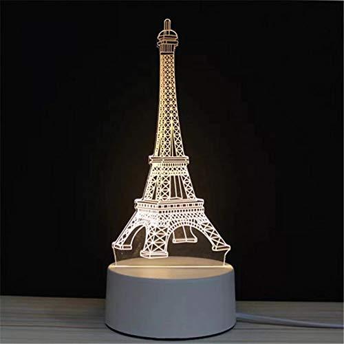 Soleiler 3D LED Lampe d'illusion - LED Lampe nuit Optique, Veilleuse acrylique avec câbles USB Chambre Bureau Décoration Table de Bébé Enfant Cadeau De Noël Fête Anniversaire (la Tour Eiffel)