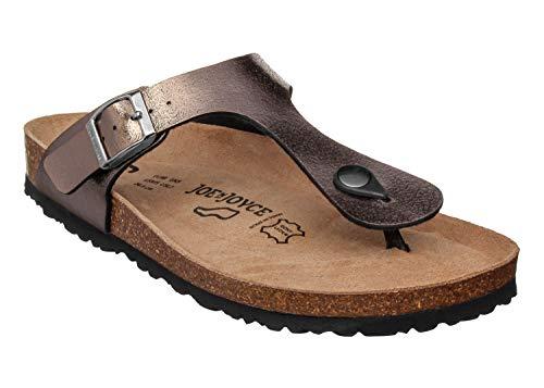 JOYCE Rio Teenslippers voor dames, comfortabele kurk-sandalen met karakteristieke middenbalk en comfortabele zool, maten 36-42