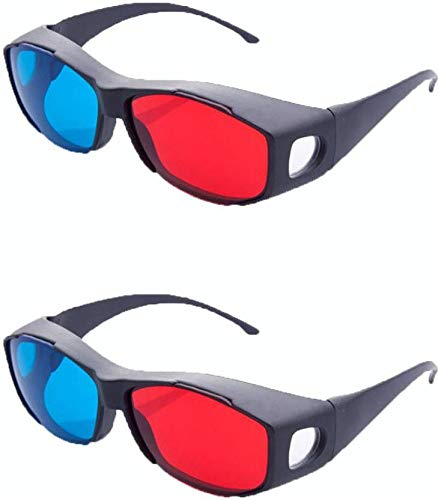 Jambar JD-06-02 Nvedia Red & Anaglyph / Cyan 3D Plastic Frame Glasses (2 Pcs.Pack) for 3D Movie /Books / Magazine