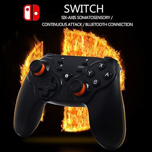 DCDZ Professional Fighting Intelligent Manette sans Fil Ergonomique 3D Joystick Antidérapante Noir Gamepads E-Sport Bluetooth Contrôleur de Jeu for Switch - Résistant À l'usure Durable