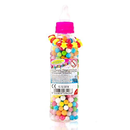 Babyfläschchen mit fein süßen Zuckerperlen und tollem Spielzeug in der 100g Packung von Boogie