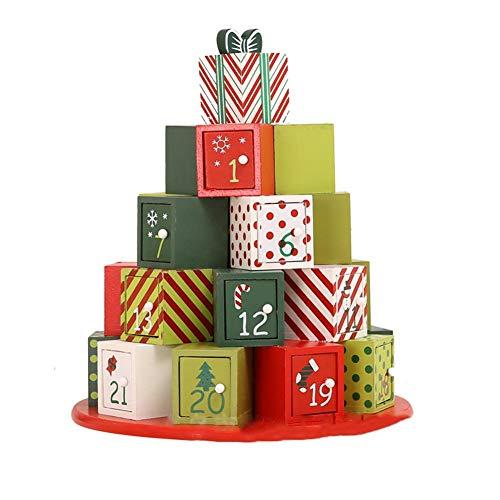 Caja De Regalo del Calendario De Adviento De Navidad, Modelo De Calendario De Adviento De Navidad De Madera Ecológico Tradicional para La Decoración De Navidad