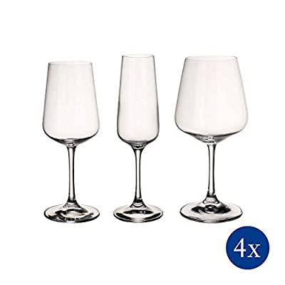 Villeroy & Boch Ovid Wine Glass Set of 12 - 4 Red, 4 White, 4 Champagne