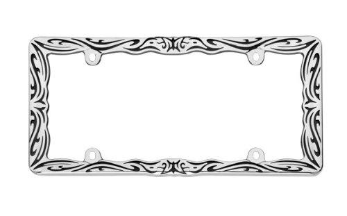 Cruiser Accessories 22135 Tribal II License Plate Frame, Chrome/Black
