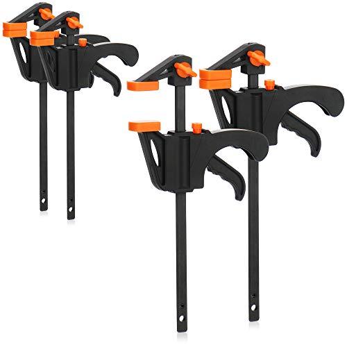 com-four® 4X Einhandzwinge - Zwingen - Schnellspannzwingen Set für Handwerker - Schraubzwinge - Handzwinge zum Spannen und Klemmen mit Einer Hand (10cm Spannweite)