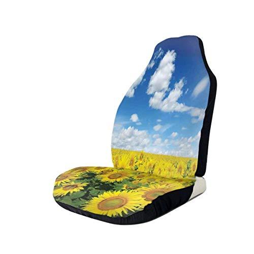 DISADI Sunflowers Field Novedad Funda de Asiento de Coche Funda de cojín de Coche Compatible con la mayoría de los Accesorios de Interior de Coche de Moda Funda de Asiento (Juego de 2)