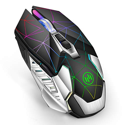 G10 LED Wireless Gaming Mouse, Uiosmuph 2.4G Optical Rechargeable Wireless Mouse, Silent Wireless Computer Mouse with LED Light and Metal Base (Black)