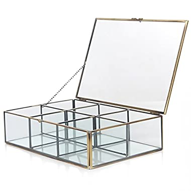 Decorative Clear Glass & Brass Metal Frame 6 Compartment Jewelry Shadow Box / Counter Top Display Case