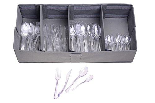 Gräwe Couverts jetables 200 pièces Couverts Transparents en Plastique avec boîte de Distribution
