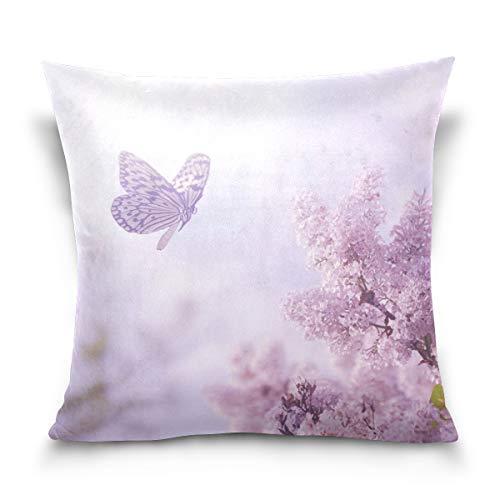 Chic Houses Hermosa mariposa rosa flores cuadrado con cremallera almohada protector fresco esteticismo natural funda de cojín para sofá cama 2030110