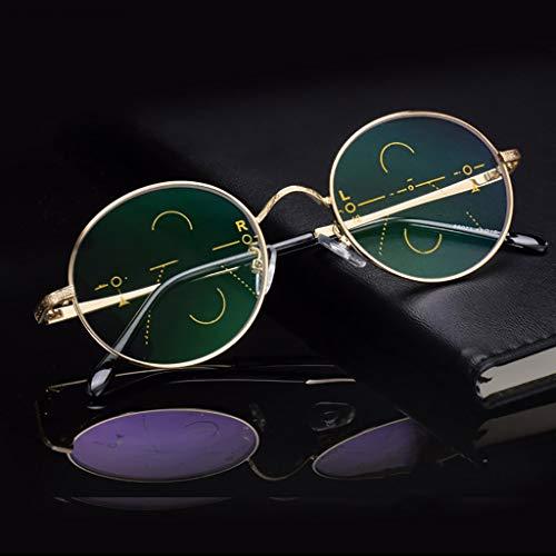 XJAXY Vintage Round Unisex Voorschrift Lezen Bril, Smart zoom zonnebril Fotochromisme, metalen frame
