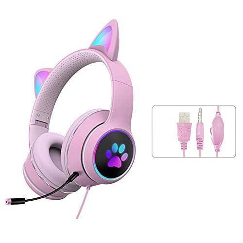 MOVKZACV Auriculares para juegos con orejas de gato, auriculares para juegos, auriculares con orejas de gato, Bluetooth inalámbrico RGB 3.5, auriculares de gato, para niños y adultos (rosa)
